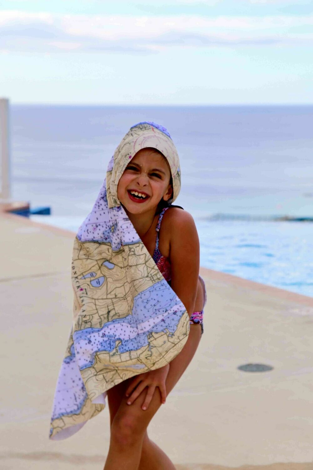 Hooded Toddler Towel Custom Cape May Map