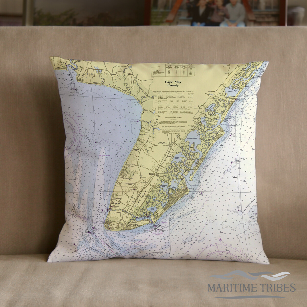 Custom Cape May Map Pillow-Indoor/Outdoor