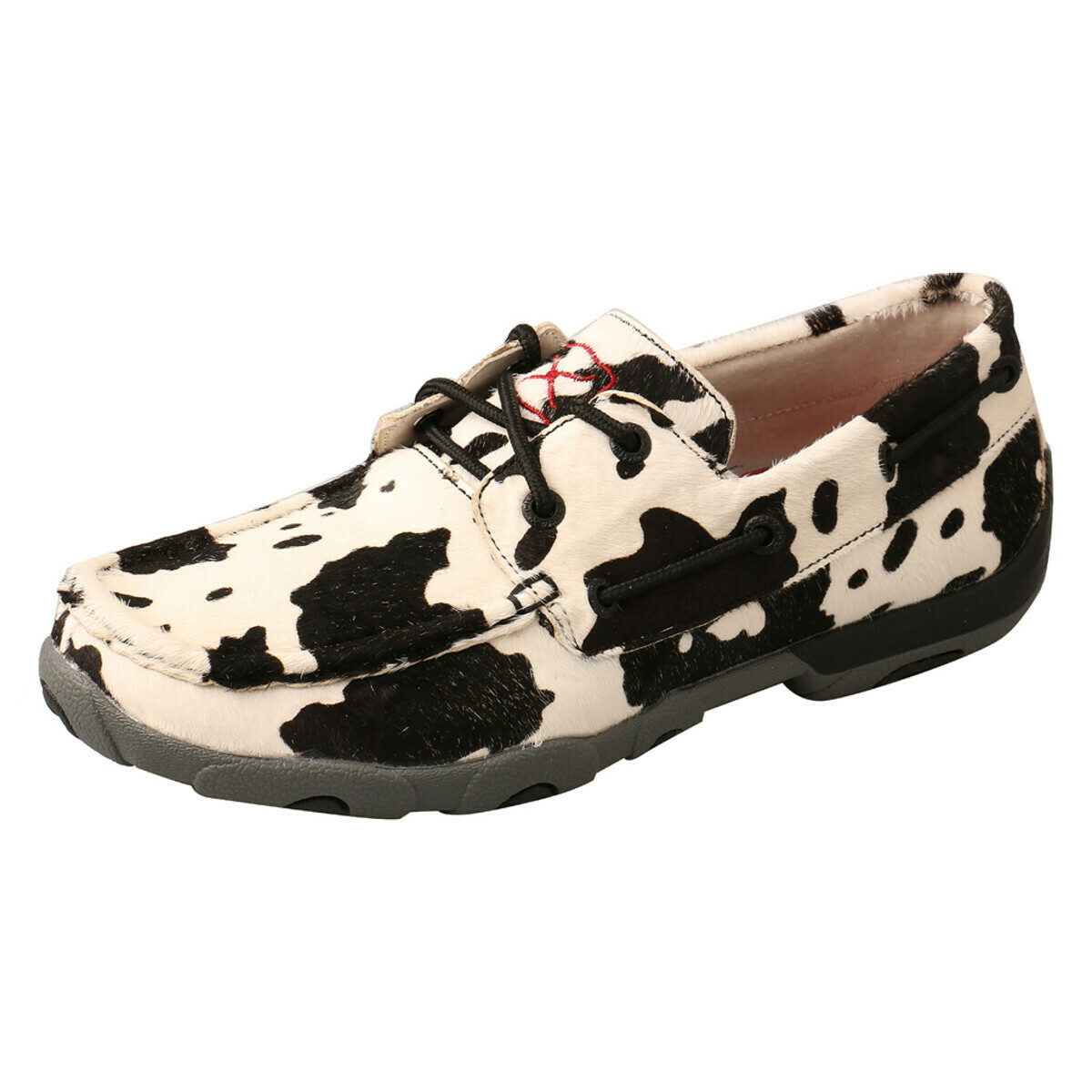 WDM0131 Cow Print DRIVING MOC White/Black