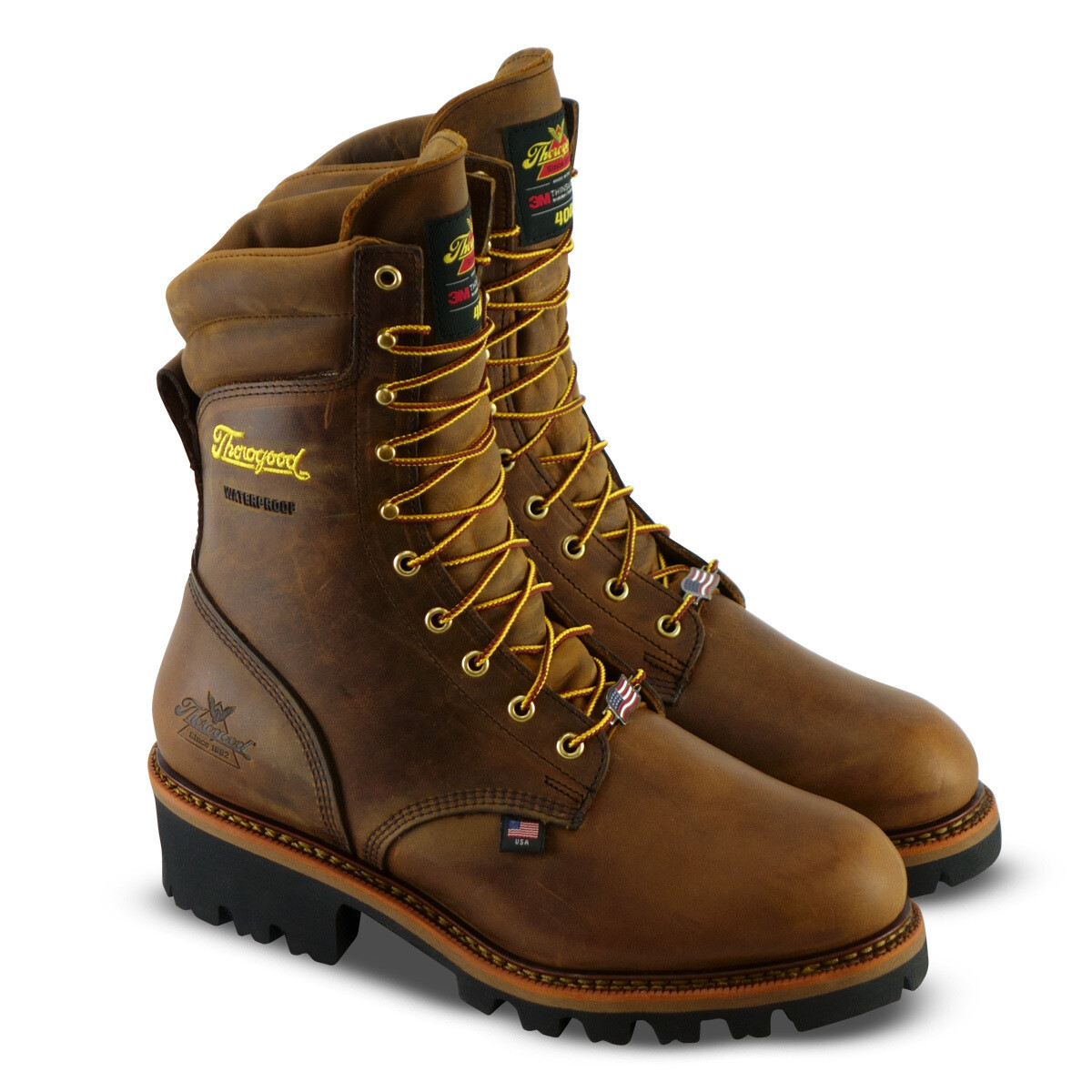 804-3554 Thorogood USA LOGGER SERIES 9″ BROWN TRAIL CRAZYHORSE INS WP Steel Toe - ONLINE ONLY