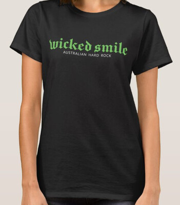 Wicked Smile logo t.shirt available in female & male cut Free Shipping