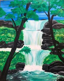 Majestic Waterfall IN STUDIO Paint and Sip Class with ZOOM option