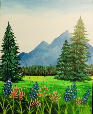 Mountain Lupines IN STUDIO Paint and Sip Class with ZOOM option