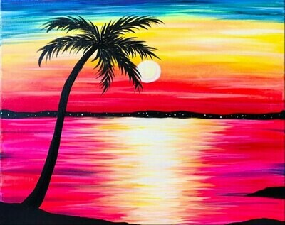 Tropical Paradise Party IN STUDIO Paint and Sip Class with ZOOM option