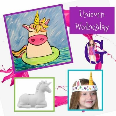 KIDS CAMP Unicorn Wednesday IN STUDIO Art Camp with ZOOM option