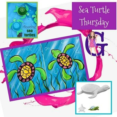 KIDS CAMP Sea Turtle Thursday IN STUDIO Art Camp with ZOOM option and Mommy & Me Add-On Option