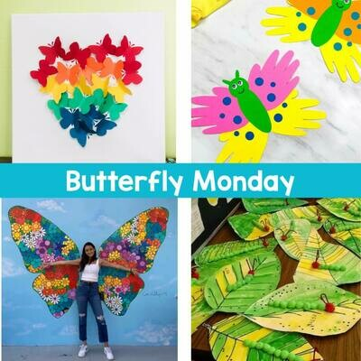 KIDS CAMP Butterfly Monday IN STUDIO Art Camp with ZOOM option
