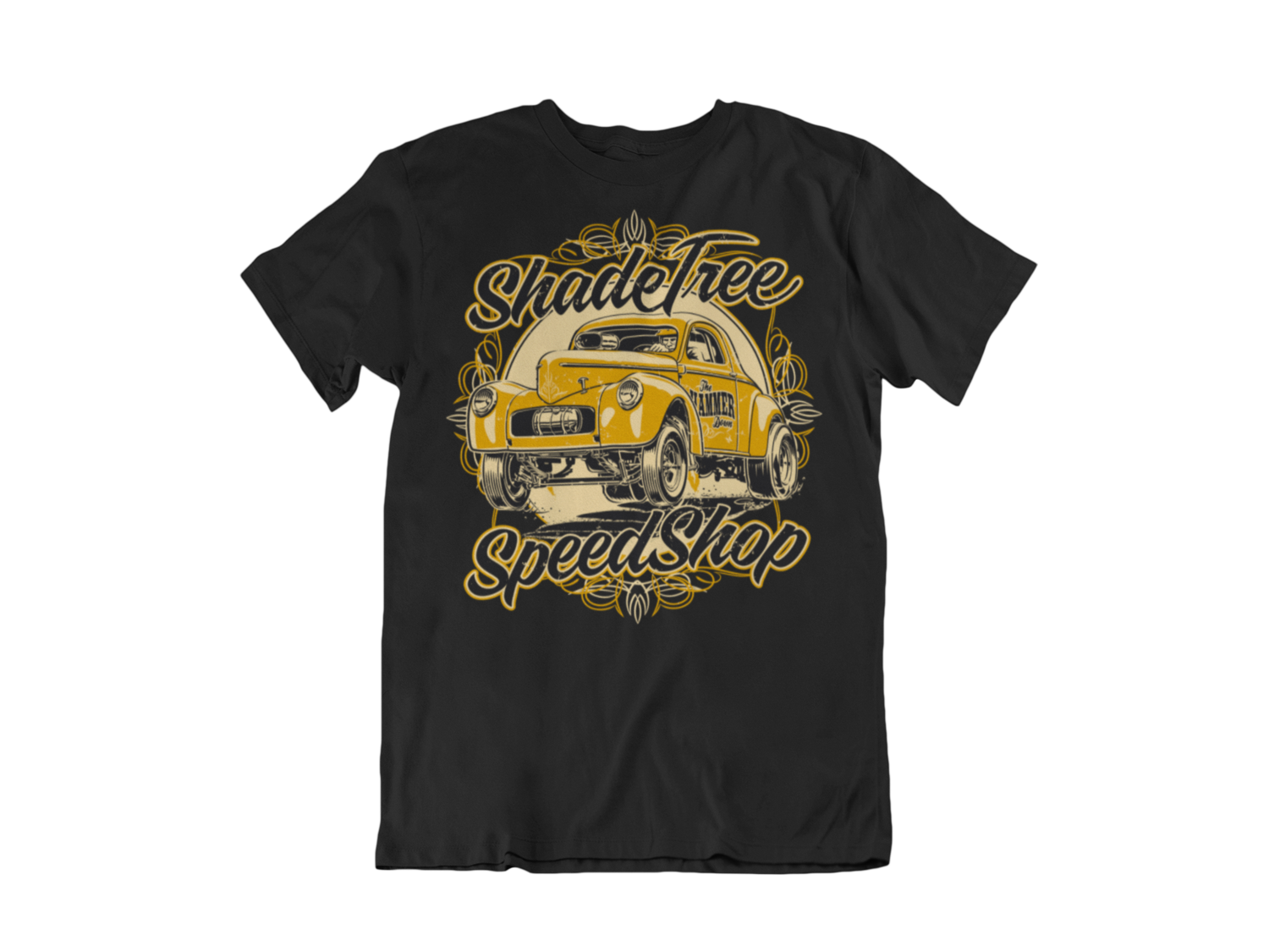 """SHADE TREE SPEED SHOP """"Willys"""" T-SHIRT MAN BY Ger """"Dutch Courage"""" Peters artwork"""