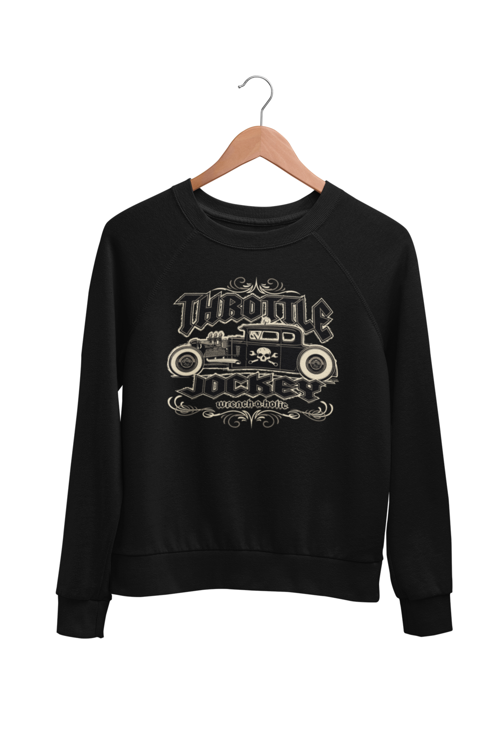 "THROTTLE JOCKEY ""Wrench a Holic"" SWEATSHIRT UNISEX by BY Ger ""Dutch Courage"" Peters artwork"