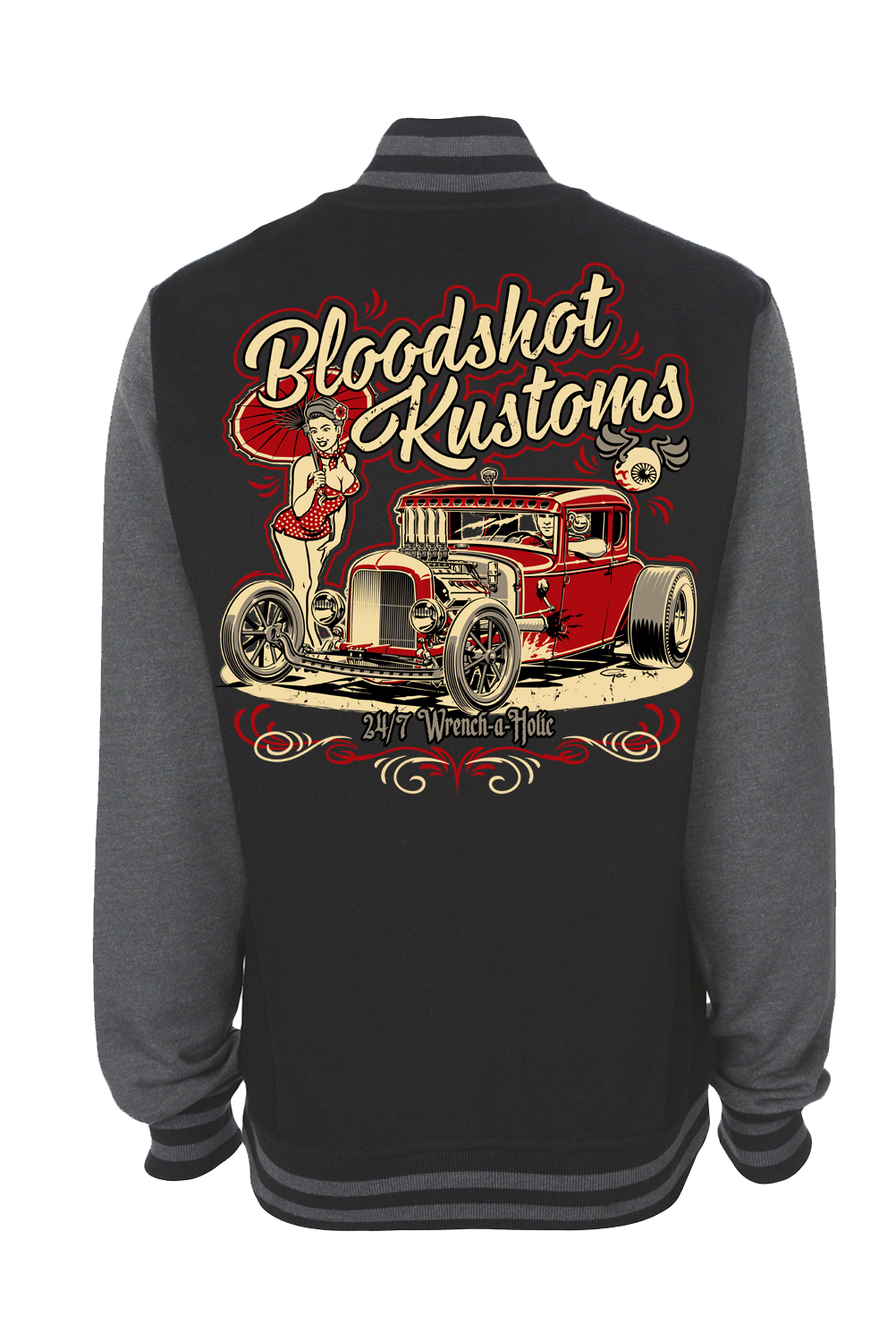 "BLOODSHOT KUSTOM "" Hemi pin up"" VARSITY JACKET  UNISEX by Ger ""Dutch Courage"" Peters artwork"