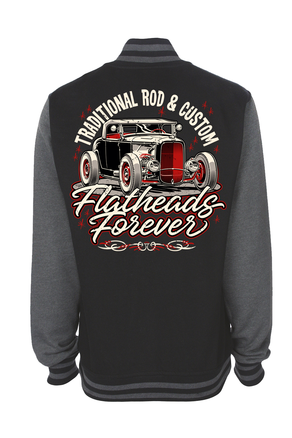 """FLATHEADS FOREVER VARSITY JACKET UNISEX by Ger """"Dutch Courage"""" Peters artwork"""