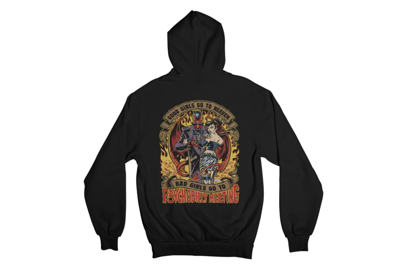 BAD GIRLS GO TO PSYCHOBILLY MEETING HOODIE ZIP for MEN by PASKAL