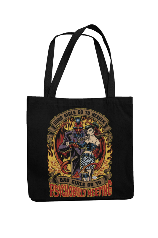 Cotton Bag bad girls go to Psychobilly Meeting design by PASKAL 2019