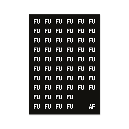 poster fuaf - white fu on black