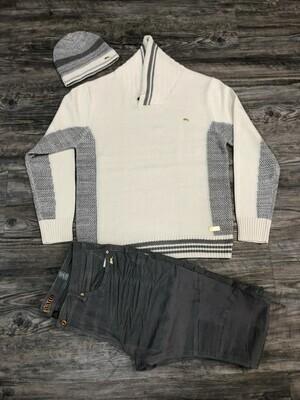 A. Tiziano Carson | Long Sleeve Pullover Shawl Collar Sweater