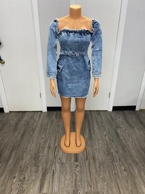 Off-The-Off Shoulder Jean Mini Dress
