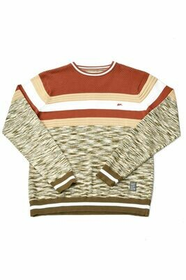 Jamal Men's Melange Stripe Crew-neck Sweater