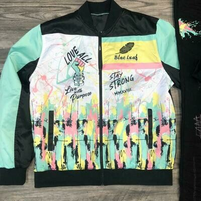 Blac Leaf Abstract Love All Stay Strong Bomber Jacket