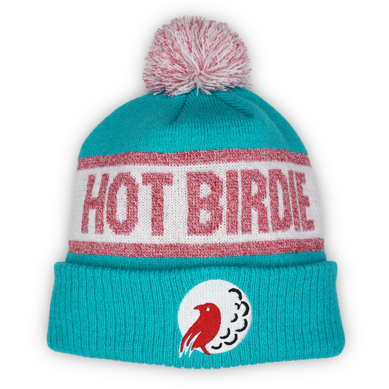 Hot Birdie Golf Beanie Ribbed Cuff with Pom