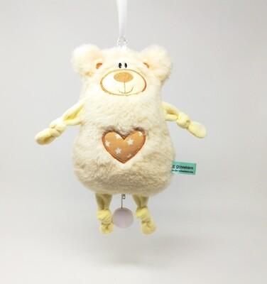 Personalisierte Spieluhr zum Aufhängen Teddy Bär natur-weiß: mit Namen und Wunschmelodie, aus Öko Teddy Plüsch, mit austauschbarer Spieluhr. Taufgeschenk