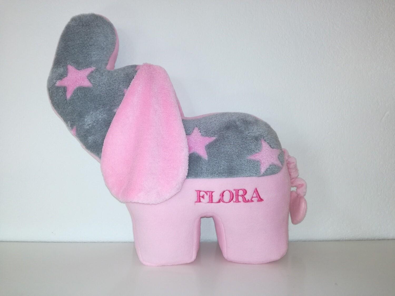 Tier-Kissen Namenskissen Elefant mit Namen für Spieluhr mit Wunschmelodie, aus Öko Teddy Plüsch, mit austauschbarer Spieluhr. Optional mit Geheimtasche/Reißverschluss. Geschenk Mädchen