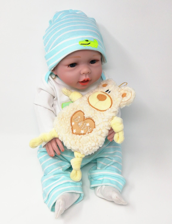 Personalisiertes Plüschtier Baby Bär naturweiß mit Namen als Wärmekissen oder Knister-Tuch und Schnullertasche. Ein süßes Baby Geschenk