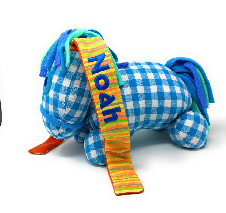 Das kleine Ich Bin Ich Stofftier blau personalisierbar mit Namen aus Öko Baumwolle, groß. Geschenk zum Geburtstag, Einschulung