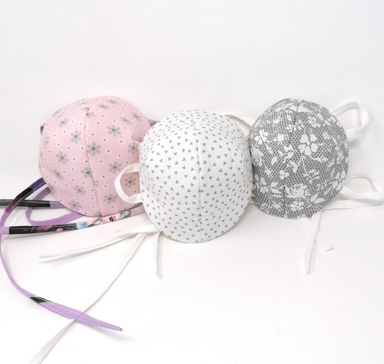 Behelfs Mundschutz Masken Set fuer Kinder und Erwachsene hellgrau-rosa