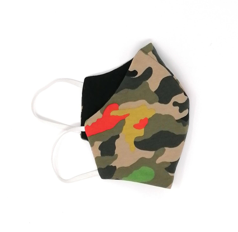 Behelfs Mundschutz Masken Set camouflage fuer Kinder und Erwachsene grün schwarz