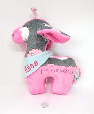 Tier-Kissen Namenskissen Giraffe rosa-grau mit Namen für Spieluhr mit Wunschmelodie, aus Öko Teddy Plüsch, mit austauschbarer Spieluhr. Optional mit Geheimtasche/Reißverschluss