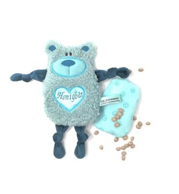 Personalisiertes Plüschtier Baby Bär hellmint mit Namen als Wärmekissen oder Knister-Tuch und Schnullertasche. Ein süßes Baby Geschenk