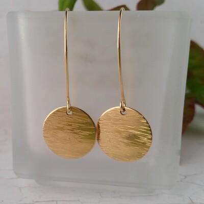 Yellow Gold Filled Earrings. Large Hammered Circle
