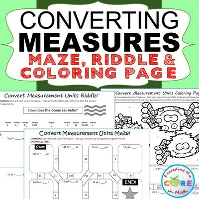 CONVERT CUSTOMARY UNITS OF MEASURE Maze, Riddle & Color by Number Activities