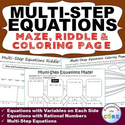MULTI-STEP EQUATIONS Maze, Riddle, & Color by Number Coloring Page Activity