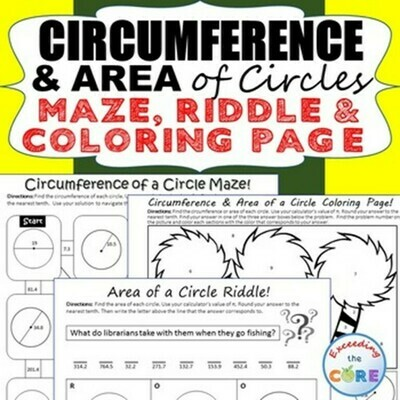 CIRCUMFERENCE & AREA of CIRCLES Maze, Riddle, Color by Number (Fun Activities)