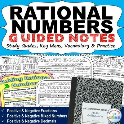RATIONAL NUMBERS Doodle Math - Interactive Notebooks (Guided Notes)