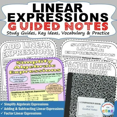 LINEAR EXPRESSIONS Doodle Math - Interactive Notebooks (Guided Notes)