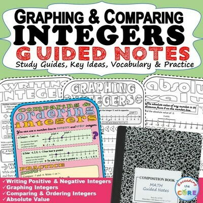 GRAPHING & COMPARING INTEGERS Doodle Math - Interactive Notebooks (Guided Notes)