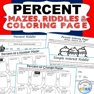 PERCENTS Mazes, Riddles & Color by Number Coloring Page Fun Math Activity