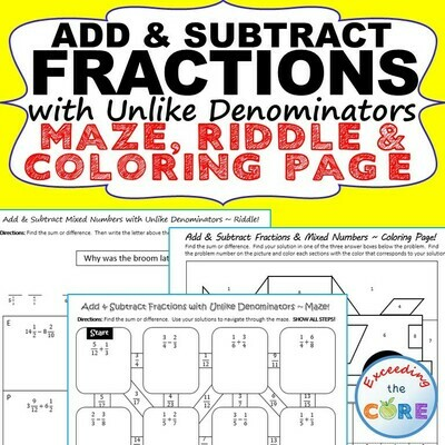ADD & SUBTRACT FRACTIONS with UNLIKE DENOMINATORS Maze, Riddle, Color by Number