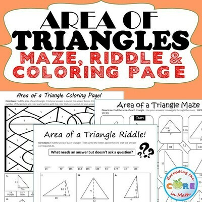 AREA OF TRIANGLES Maze, Riddle, Coloring Page Color by Numbers Math Activities