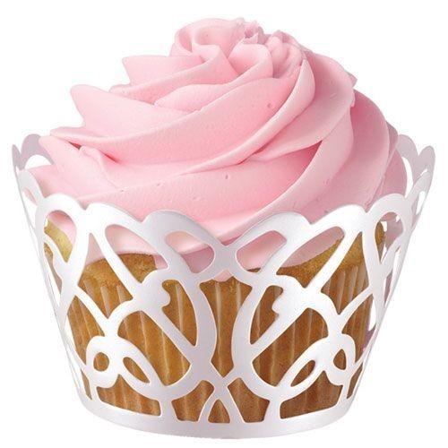 Wilton Cupcake Wraps -WHITE PEARL SWIRLS - Περιτύλιγμα για cupcake λευκό περλέ 18τεμ.