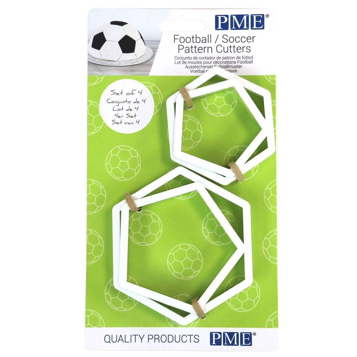 PME Geometric Cutters -Set of 4 -FOOTBALL/Soccer Pattern Cutters -Σετ 4 τεμ κουπ πατ για μπάλα ποδοσφαίρου