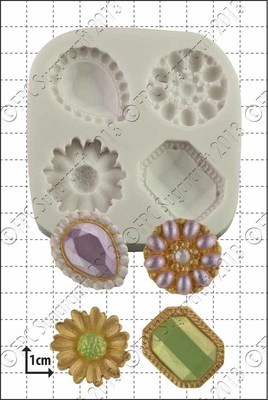 SALE!!! FPC -Silicone Mould -JEWELLED BROOCHES - Καλούπι Σιλικόνης Καρφίτσες Κόσμημα