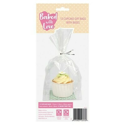 Baked With Love -Cupcake Gift Bags with Bases -Διάφανες Σακούλες με Βάση για Cupcakes 12 τεμ