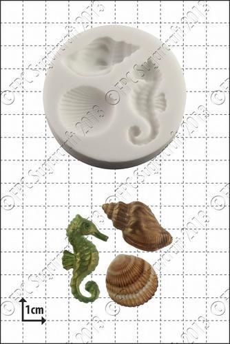 FPC Silicone Mould -SHELLS & SEAHORSES -Καλούπι Ιππόκαμπος & Κοχύλια