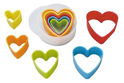 By AH -Set of Plastic Cookie Cutters -HEARTS -Σετ 5 τεμ πλαστικά κουπ πατ Καρδιές