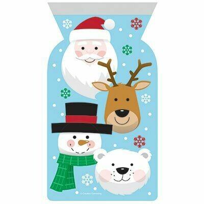 By AH -Gift Bags with Zip Close -Christmas Characters 12 τεμ - Σακουλάκια δώρου Επανασφραγιζόμενα με Χριστουγεννιάτικο Θέμα