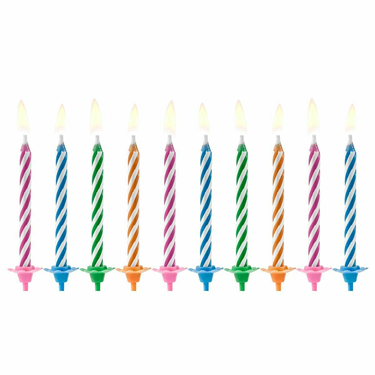 PartyDeco Birthday Candles -MAGIC RELIGHTING MIX 10 τεμ. - Μαγικά Κεράκια Πολύχρωμα