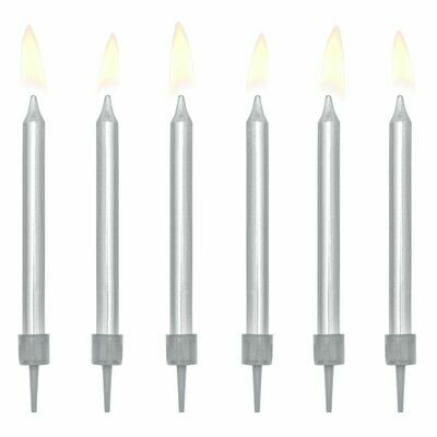 PartyDeco Birthday Candles -6εκ PLAIN SILVER 6 τεμ - Ασημένια κεράκια 6εκ